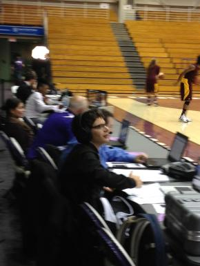 Goren calls a women's basketball game against Minnesota