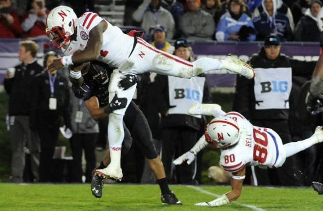 Nebraska quarterback Tommy Armstrong, Jr. did not reach the end zone on this run, but running back Ameer Abdullah punched it in on the next play as Nebraska dominated the second half against Northwestern. Photo credit: David Banks, USA Today.
