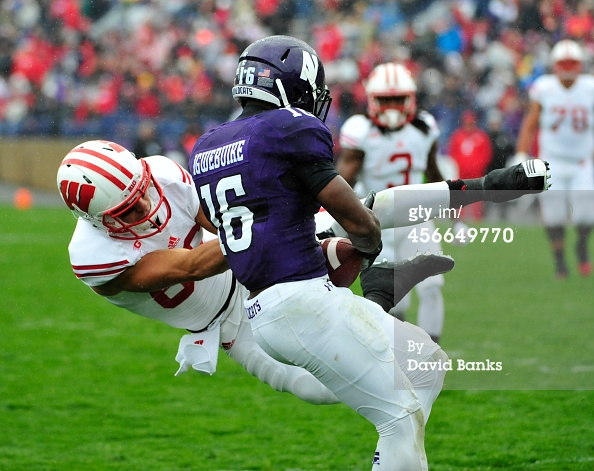 Godwin Igwebuike intercepted three passes in his first career start, leading Northwestern to an upset victory over Wisconsin. Photo credit: David Banks, Getty Images.