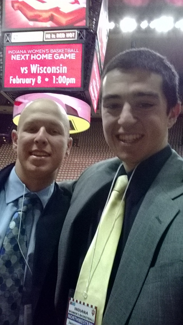 Current WNUR Sports Directors Greg Mroz and Cameron Songer at Assembly Hall in Bloomington, Indiana for a women's basketball broadcast in winter 2014.
