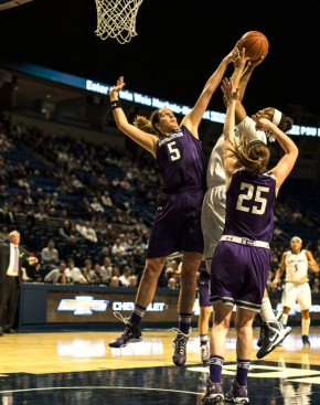 Alex Cohen got the block here, but she fouled out in early in the Wildcats' close loss at Penn State. Photo credit: Vanessa Zican Feng/The Daily Collegian