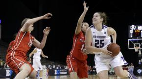 Maggie Lyon attacks the bucket against Rutgers. What do Ari and Ryan have to say about Lyon and the Cats' chances in the NCAA tourney? Photo credit: Nam Y. Huh, AP.