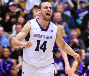 Tre Demps was all smiles after he hit three clutch triples to force overtime and double overtime in a stunning Northwestern victory over Michigan. Photo credit: David Banks, USA Today Sports.