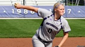 Northwestern's Kristen Wood leads Big Ten pitchers with a 0.95 ERA in conference play. The Wildcats host Purdue for a three-game series this weekend, with Saturday's game on WNUR. Photo credit: Mike Bast.