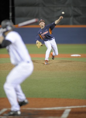 Illinois closer Tyler Jay is considered a first-round draft pick by many. Jay (shown here pitching to a blurry Northwestern batter) and the Illini advanced to the Super Regionals, one of two Big Ten teams among baseball's final 16. Photo credit: Illinois athletics.