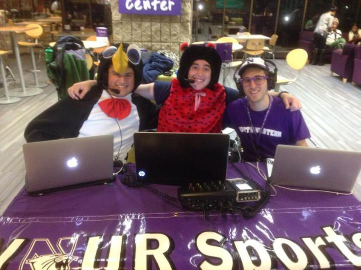 Scoliard (middle), Jesse Kirsch and Jeff Eisenband hosting the SportsVoice during WNUR's 2014 Sportsathon.