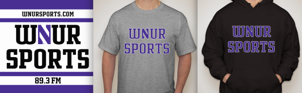 "WNUR's 2015 Sportsathon Premiums: 3"" x 3"" Laptop Stickers, T-shirts and Hoodies"