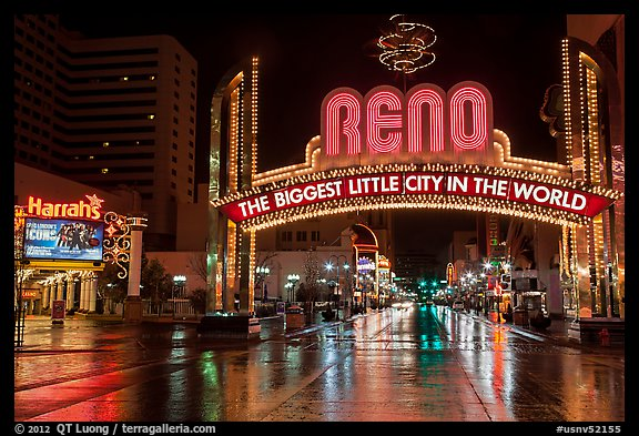 Biggest little city in the world sign and reflections. Reno, Nevada, USA