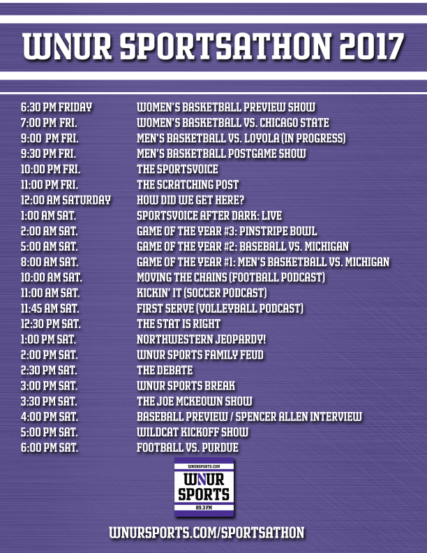 Sportsathon schedule graphic REAL