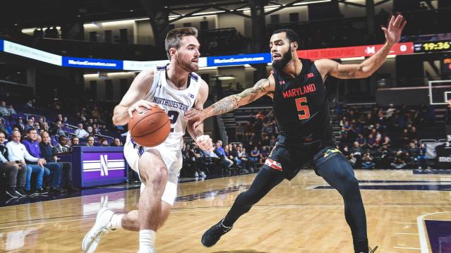 Men's Basketball Falls to Maryland as Collins' Northwestern Winning Percentage Dips Below .500.